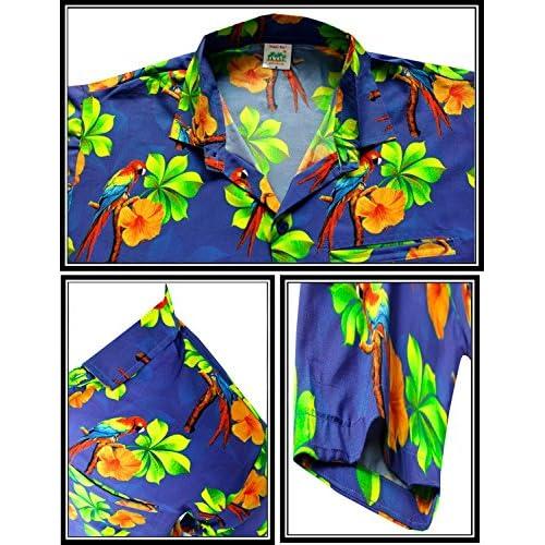 *La Leela* Palmera Loro Informal buttotn Abajo Camiseta de Manga Corta los Hombres Hawaiano FXiywGZ