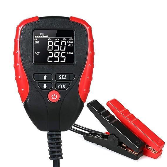Fesjoy Batterietester Automotive Batterie Belastungstest Testger/ät Digital Analyzer Batteriezustand Test-Tool Speicherbatterie-Tester 12 V mit AH//CCA-Modus f/ür Auto-Motorrad-Bootsfahrzeug