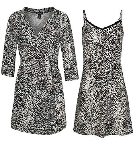 Rene Rofe Sleepwear Women\'s Robe and Chemise 2 Piece Soft Touch Set (Cheetah, Large)'