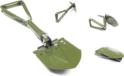Multifunktionaler 3 teiliger Bundeswehr Klappspaten mit original Tasche Spaten Feldspaten H/ülle 60 cm NEU