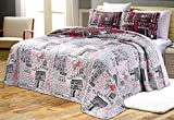 Purple and White Quilt Cover GrandLinen 3-Piece Fine Printed Oversize (100