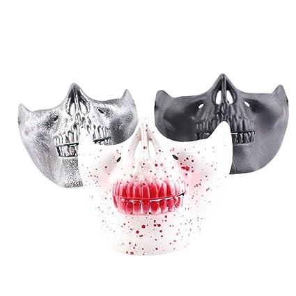 Tinksky Mascara de Craneo Esqueleto Cráneo cara Mitad de La Máscara para Halloween 3PCS