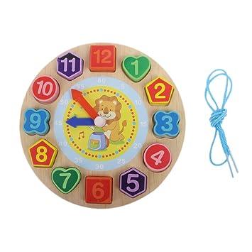 Vivianu - Reloj digital con diseño de animales, bloques de madera para reloj de juguete, juguete cognitivo para niños A: Amazon.es: Hogar