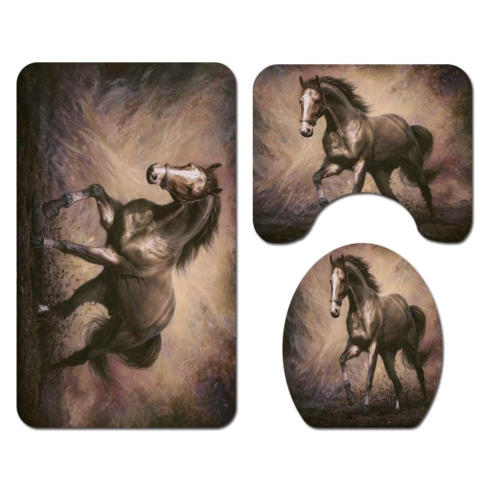 ETH Horse Pattern Floor Mat Bathroom Toilet Seat Three-Piece Carpet Water Absorption Does Not Fade Versatile Comfortable Bathroom Mat Can Be Machine Washed Durable by ETH