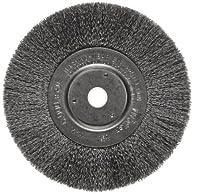 "Weiler Trulock Narrow Face Wire Wheel Brush, Round Hole, Steel, Crimped Wire, 6"" Diameter, 0.006"" Wire Diameter, 5/8-1/2"" Arbor, 1-7/16"" Bristle Length, 3/4"" Brush Face Width, 6000 rpm"