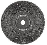 Weiler Trulock Narrow Face Wire Wheel Brush, Round Hole, Steel, Crimped Wire, 6'' Diameter, 0.006'' Wire Diameter, 5/8-1/2'' Arbor, 1-7/16'' Bristle Length, 3/4'' Brush Face Width, 6000 rpm