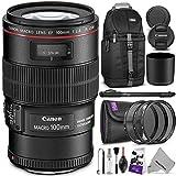 Canon EF 100mm f/2.8L IS USM Macro Lens w/ Essential Bundle - Includes: Camera Sling Backpack, Lens Hood, UV-CPL-ND4, Camera Cleaning Set