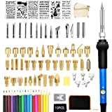 97PC Wood Burning Kit, Professional Woodburning Tool with Soldering Iron, Creative Tool Set Adjustable Temperature Soldering