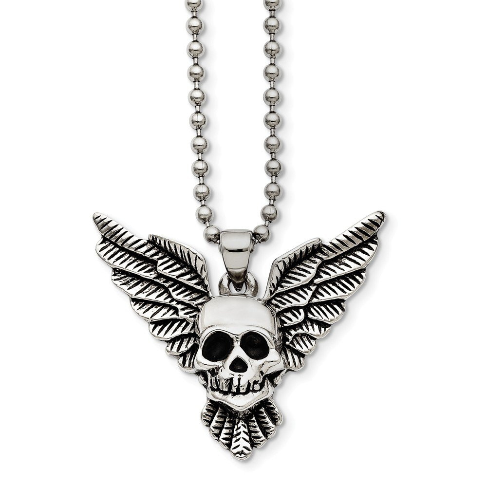 22 in, Jay Seiler Stainless Steel Antiqued Skull with Wings Polished Necklace Length