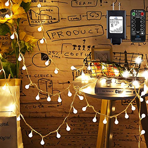 Mikikin Globe String Lights, 49ft 100 LED Warm White Fairy String Lights Waterproof with 8 Modes, Remote & Timer, UL Listed Plug in String Light Perfect for Indoor, Outdoor, Patio, Bedroom Decoration (Lights Indoors String)