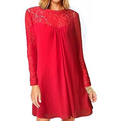 vanberfia Women s Long Sleeve Lace Patchwork Loose Casual Mini Chiffon Dress  (S 3f7efc394789