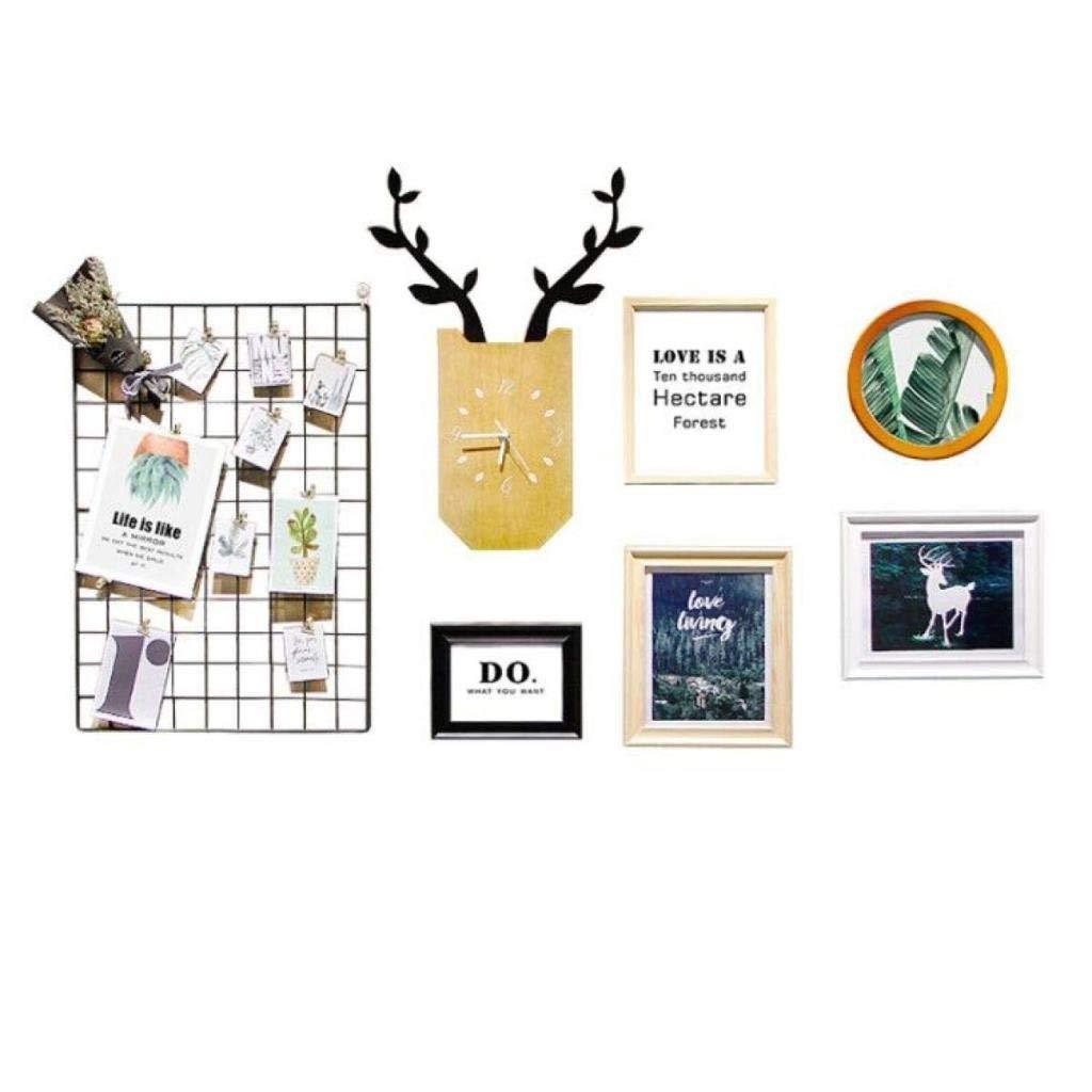 Jjek K Photo Frame Photo Wall Photo Wall Collage Ins Grid Photo Wall Set Living Room Photo Frame Personalized Wall Clock Creative Photo Frame Combination by Jjek (Image #9)