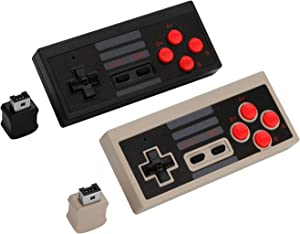 2PCS Wireless Game Controller, AGPtEK 2.4G Wireless Gamepad for NES Classic Edition, Wireless Joypad with 2 Receiver for Classic Gaming System
