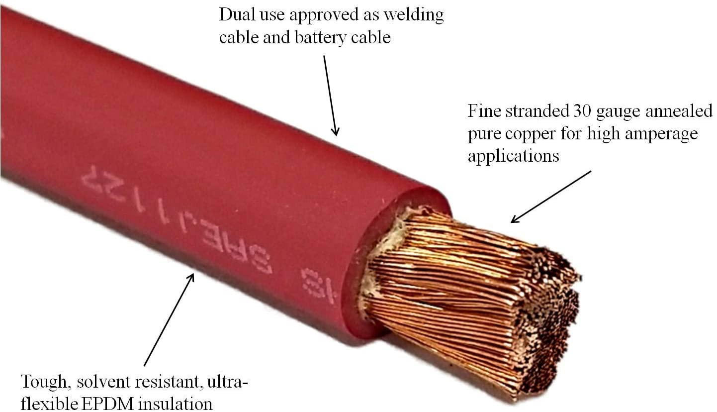 Car Made In The USA Inverter Solar WNI 6 Gauge 15 Feet Red 6 AWG Ultra Flexible Welding Battery Copper Cable Wire RV