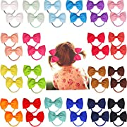 40pcs 2.75  Boutique Hair Bows Tie Baby Girls Kids Children Rubber Band Ribbon Hair bands