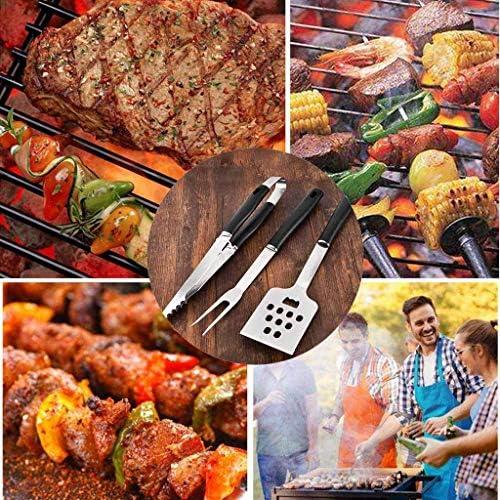 Qazxsw Ensemble de 4 Outils de Barbecue en Acier Inoxydable Pinces de Verrouillage/Pelle/Fourche/Brosse