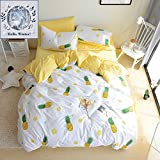 BuLuTu Pineapple Pattern 3 Pieces Cotton Bedding Sets Twin Cream White Super Soft Kids Duvet Cover Sets For Boys Girls,Love Gifts for Her,Him,Sister,Teens,Daughter,Child,Friend,Family,NO COMFORTER