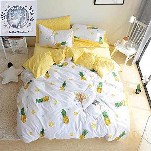 BuLuTu Pineapple Print Pattern Premium Cotton Twin Bedding Collections With 4 Corner Ties Kids Bedding Duvet Cover Sets For Boys Girls Cream White(No Comforter) (Advantage Set Bed)
