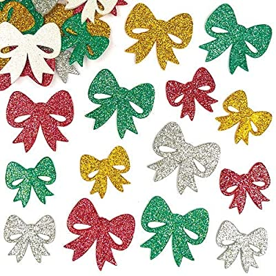 Baker Ross Self-Adhesive Foam Christmas Glittery Bow Decoration Stickers / Kids Holiday Fun Arts & Crafts Project / No Glue or Scissors Needed / Pack of 100 Shiny Xmas Present Toppers: Toys & Games