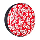 35'' Rigid Tire Cover (Plastic Face & Vinyl Band) - Hawaiian Print - Red