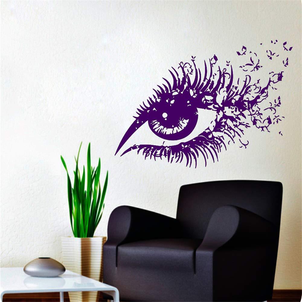 Hermosa mujer ojos vinilo pared pegatina ojo con mariposas hogar ...