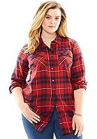 Roamans Women's Plus Size Flannel Plaid Shirt