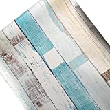 """Faux Wood Wallpaper, H2MTOOL Removable Self Adhesive Shiplap Contact Paper (17.7"""" x 78.7"""", Mix-Color)"""