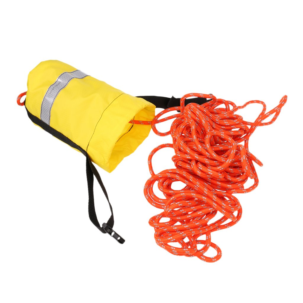 MagiDeal Buoyant Throw Rope Bag Reflective Rescue Line for Canoe Kayak 16m or 21mx8mm - Yellow, 69ft by Unknown