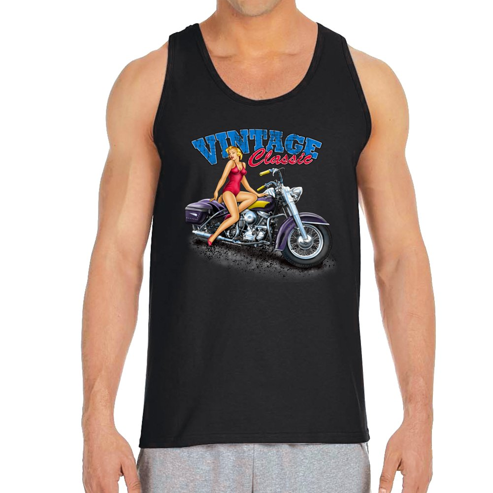 X Large Mens VINTAGE CLASSIC GIRL WITH BIKE Black Tank Top
