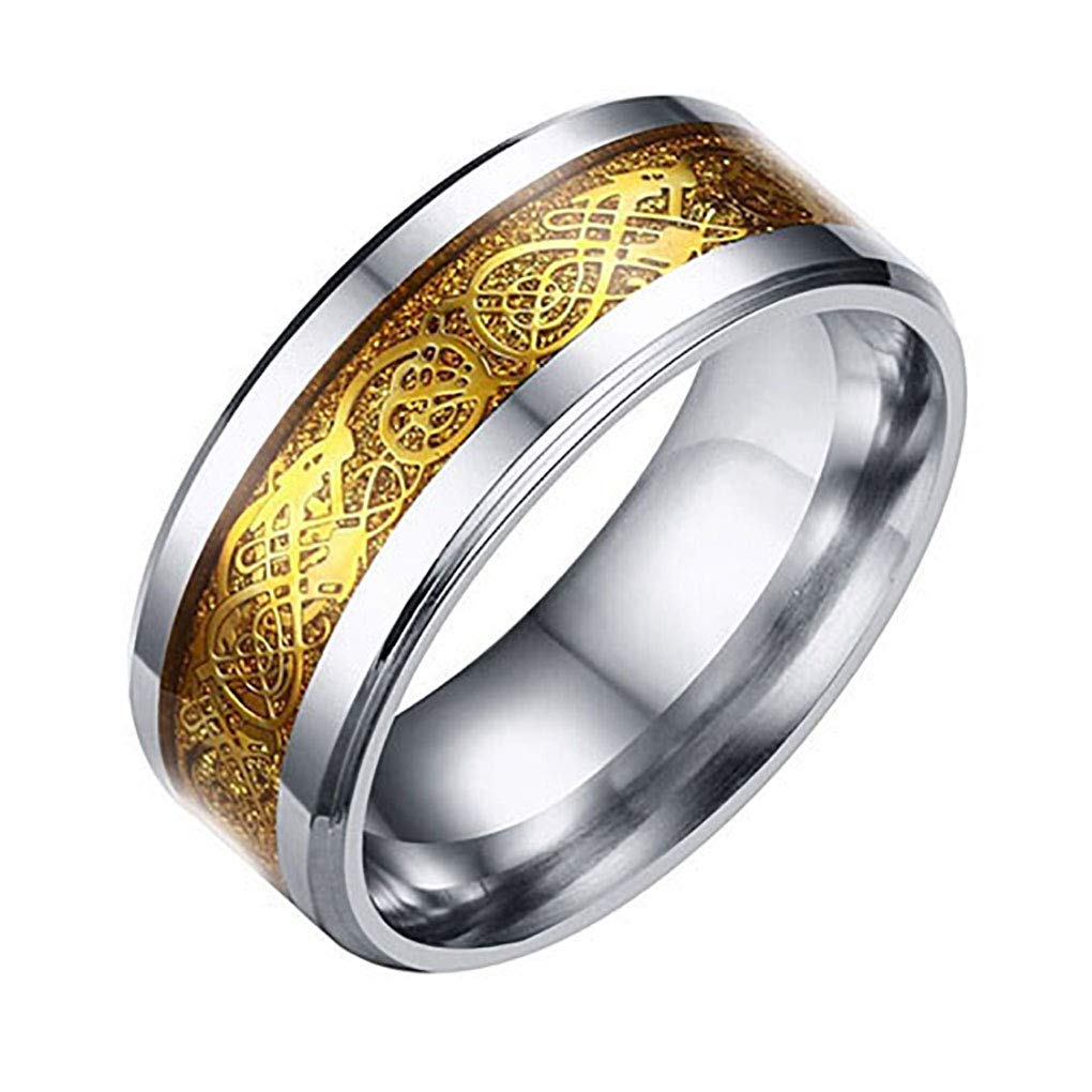 super1798 Unisex Dragon Pattern Titanium Steel Wedding Band Ring Valentine's Gift Jewelry - Golden US 8