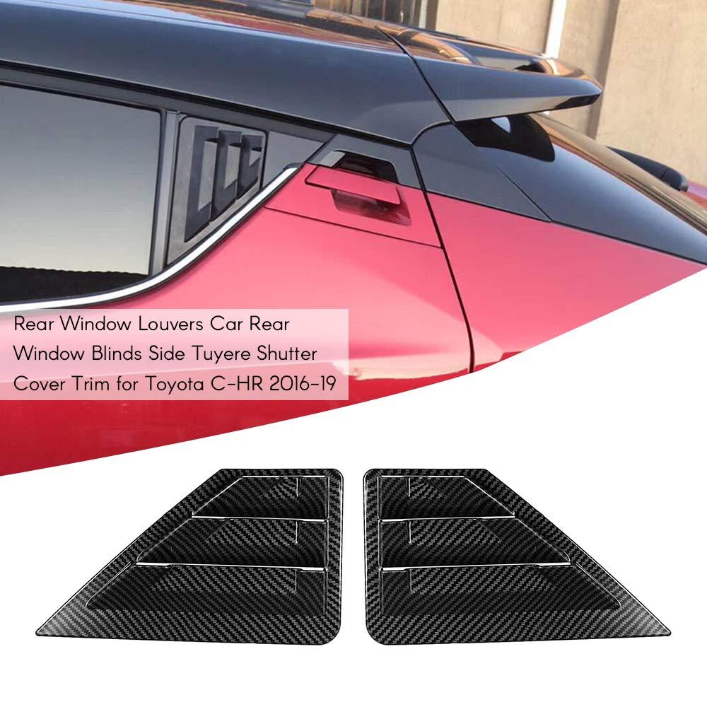 ROWEQPP 2PCS for Toyota C-HR CHR 2016 2017 2018 2019 ABS Rear Window Louvers Shutters Cover Trim Accessories Matte Black