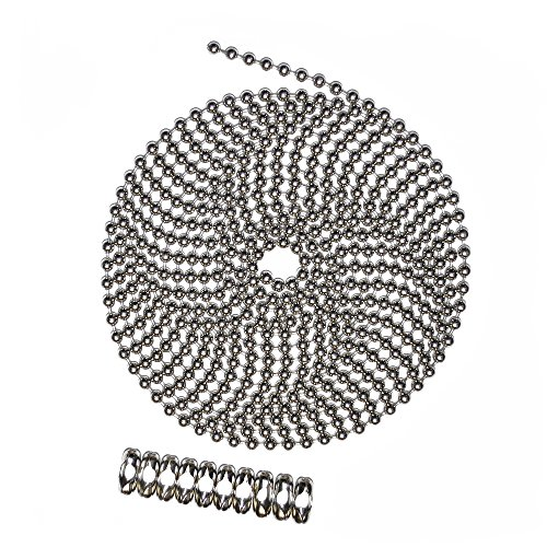 10 Foot Length Ball Chain, Number 10 Size, Nickel Plated Brass, 10 Matching B Couplings