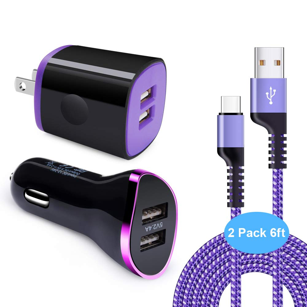 Type C Charger, Disoper Wall Charger Plug with Dual Port USB Car Charger Adapter and 2-Pack 6FT USB Type C Cable Nylon Braided Cord Compatible for Samsung Galaxy S10e S10+ S9 S8 Plus Note 9 8,Moto G6 by Disoper