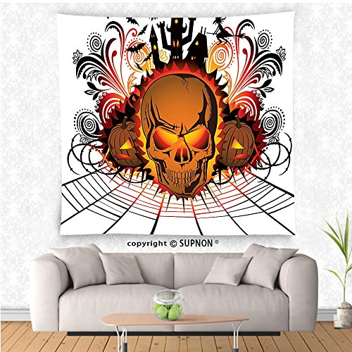 VROSELV custom tapestry Halloween Decorations Collection Angry Skull Face on Bonfire Effect Spirits of Other World Concept Bats and Spider Web Bedroom Living Room Dorm Wall Hanging Tapestry Multi