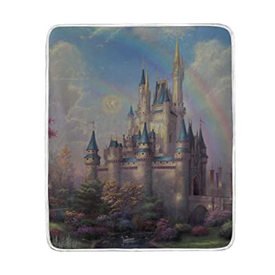 MJG Disneyland Park Art Fairy Painting Print Soft Warm Blanket for Bed Couch Sofa Lightweight Travelling Camping 60 X 50 Inch Throw Size for Kids Boys Women: Home & Kitchen