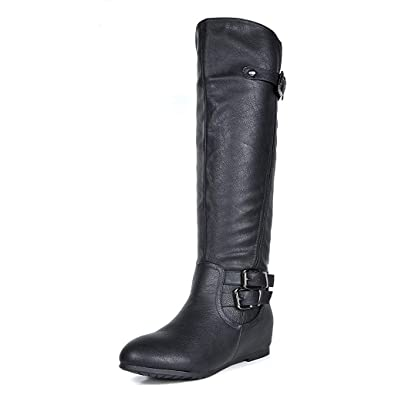 DREAM PAIRS Women s Franca Black Knee High Hidden Wedges Winter Riding  Boots Size 5 ... 04a37ef976