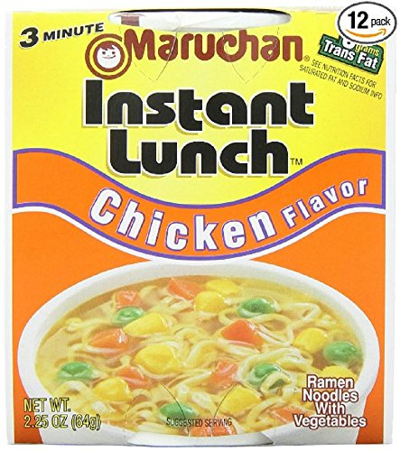 Maruchan Instant Lunch Chicken, 2.25 Oz., Pack of 12 (Chicken Soup Noodle Flavor)