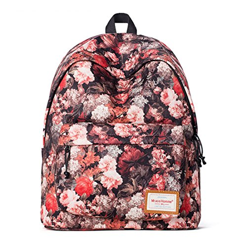 WQWL New Hot Durable Korean Version Women Casual Polyester Floral Printed Backpack Bag For Travel Rucksack School Students Satchel Hiking Bag Can Fit In 14 Inches Laptop