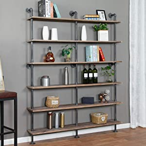 Industrial 6-Tiers Modern Ladder Shelf Bookcase,Solid Wood Storage Shelf,Display Shelving, Wall Mounted Wood Shelves, Pipe Wood Shelves Bookshelf Vintage Wrought Iron Finish (Gray)