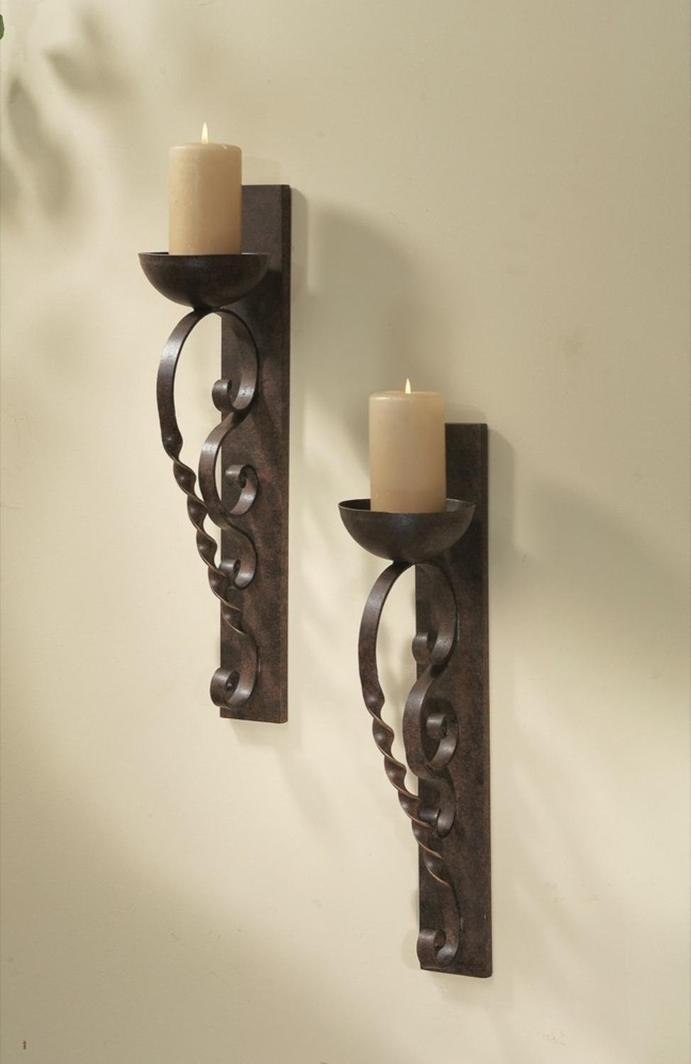 """Diva At Home Set of 2 Metallic Brown Twisted Pillar Wall Sconce Pair Wall Sconce 22"""""""