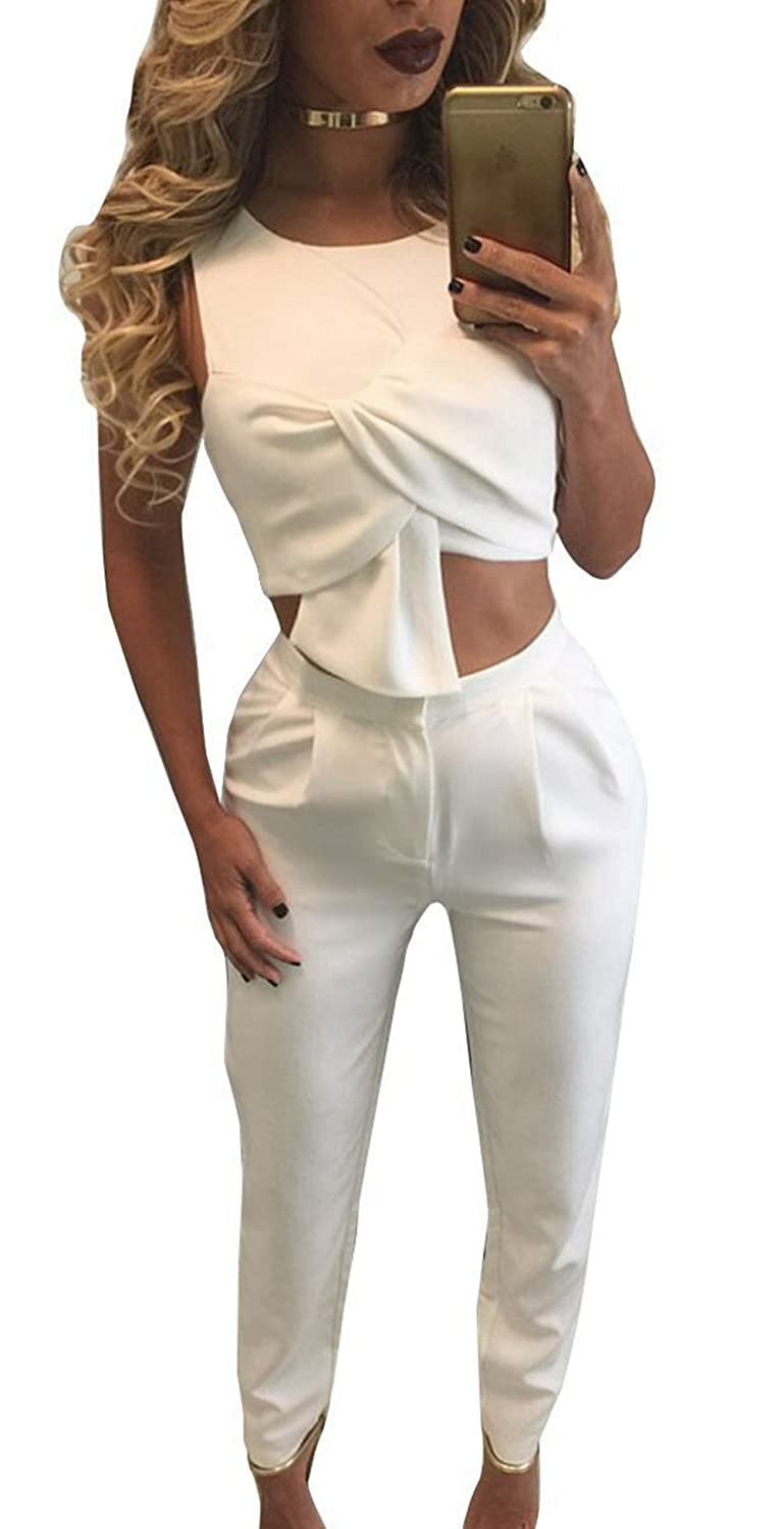 Womens Sexy Cut Out Sleeveless Slim Long Pants Party Clubwear 2 Pieces Jumpsuit