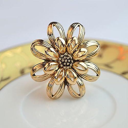 Tinksky Blume Stil 3 anneau Kopftuch Schalkragen Ring Clip