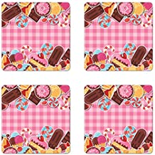 Ambesonne Ice Cream Coaster Set of Four, Candy Cookie Sugar Lollipop Cake Ice Cream Girls Design, Square Hardboard Gloss Coasters for Drinks, Baby Pink Chestnut Brown Caramel