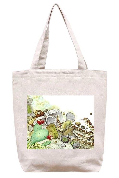 Watercolor cascabel 2 - algodón Canvas Tote Bag: Amazon.es ...
