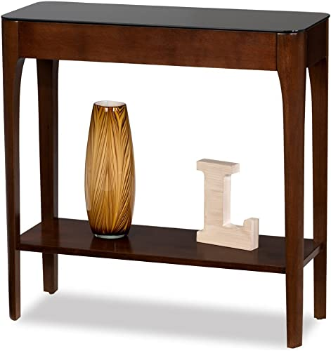 Leick Obsidian Glass Top Console Table in Chestnut