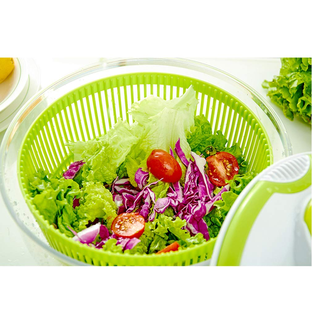TIM-LI Large Salad Spinner 5L - BPA Free Manual Lettuce Dryer and Vegetable Washer with Quick Dry Design, Easy Spin for Vegetables/Fruit by TIM-LI