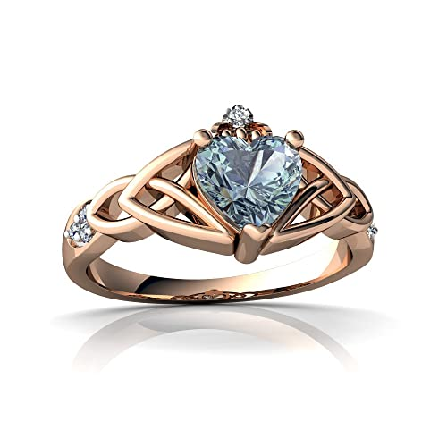 14kt Gold Aquamarine and Diamond 6mm Heart Claddagh Trinity Knot Ring
