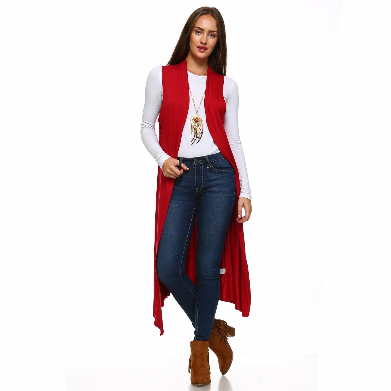 Isaac Liev Women's Sleeveless Lightweight Duster Vest (Large, Red)
