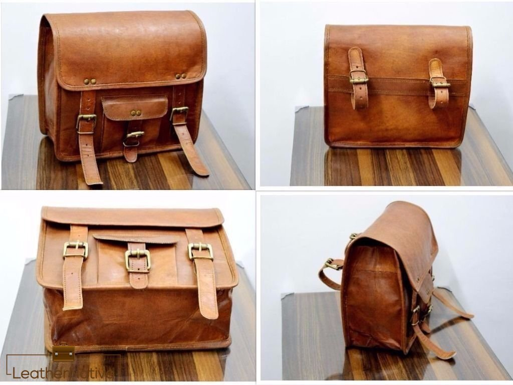 Leather Native 2 X Motorcycle Side Pouch Brown Leather Side Pouch Saddlebags Saddle Panniers ( 2 Bags ) Pre Valentines Day Special Sale!