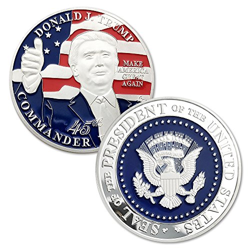 Commander Challenge Coin - Donald Trump 45th President Challenge Coin-United States Silver Plated Presidential Commemorative Collectors Edition Series.A President Collection Item